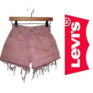 Levis HI Rise Cut Off Fringe Shorts DustyPink